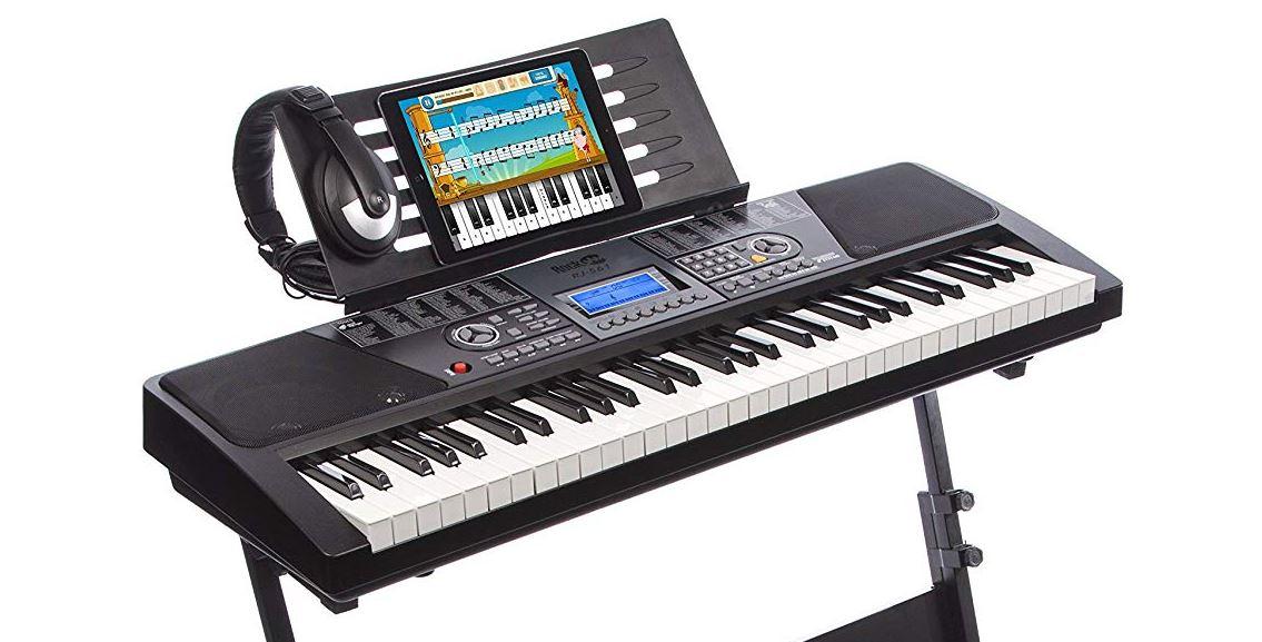 RockJam 61-Key Electronic Keyboard SuperKit with Stand Stool Headphones