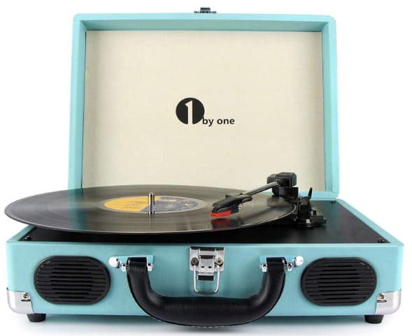1byone Belt Driven 3 Speed Portable Stereo record player