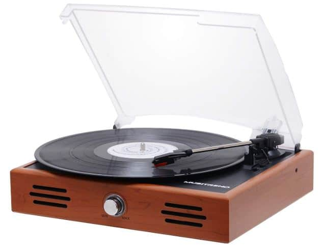 Musitrend Mini Stereo Turntable 3 Speed Record Player with Built-in Speakers
