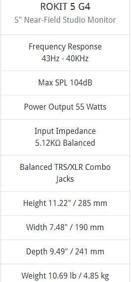 Rokit 5 G4 specs