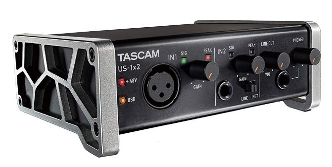 Tascam US-1x2 USB Audio-MIDI Interface with Microphone Preamps
