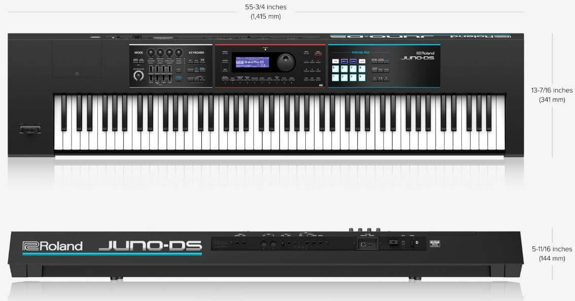 Juno DS 88 and Roland Juno DS 76 case and dimensions
