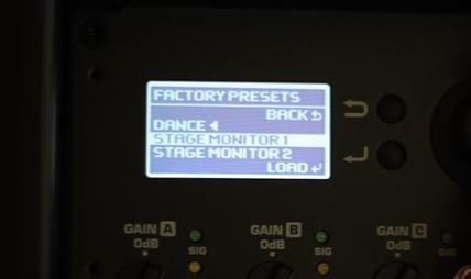 Factory Preset Screen