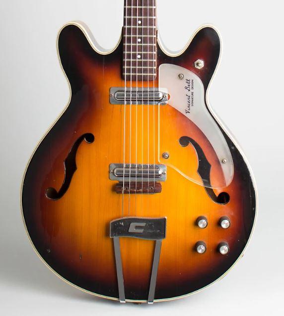 Vincent Bell Semi Hollow Guitar Sunburst color