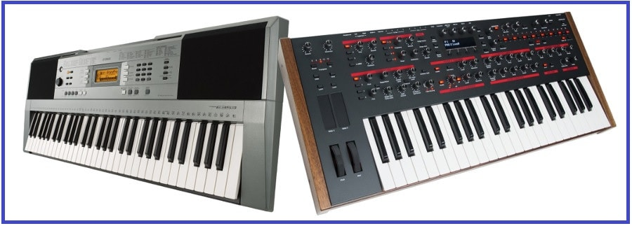 difference between piano keyboard and synthesizer