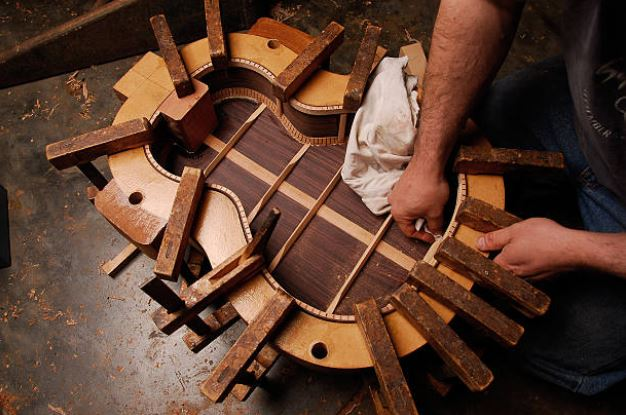 Guitar Luthier working on woods